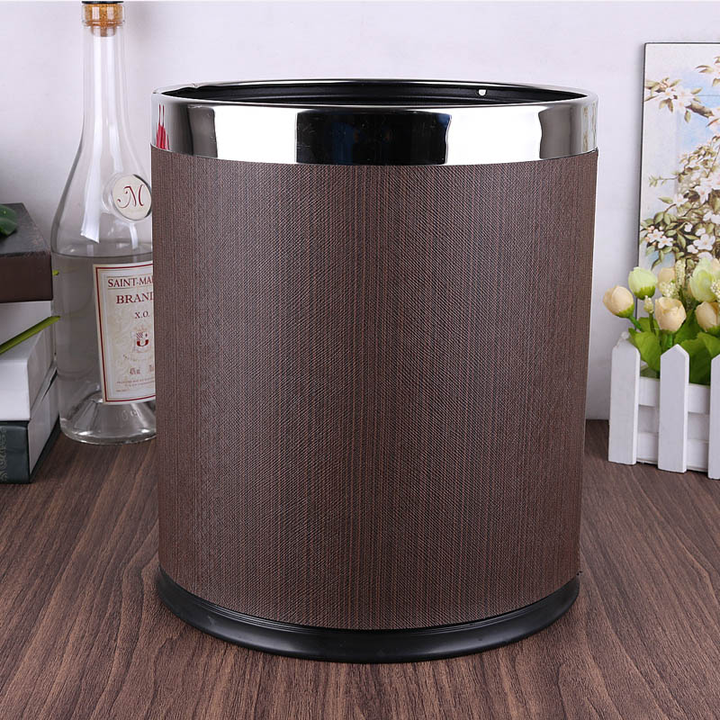European luxuriou rubbish bins kitchen waste basket Double layer trash bin metal kitchen trash can for home decoration PLJT13 enlarge