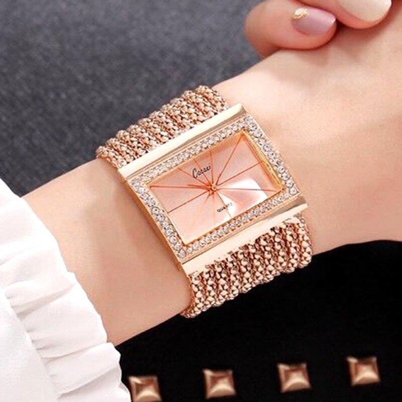 ¡Novedad de 2018! relojes con diamantes de imitación para mujer de cacao, relojes de marca lujosa para mujer, relojes de cuarzo de cristal para mujer