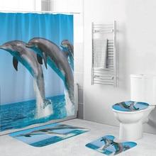 Dolphin Printed Shower Curtain Set Bathroom Carpet Toilet Mat Modern Bath Curtains Decorative Bath Mat Rug Shower Curtain