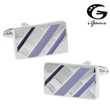 iGame Factory Supply Fashion Cuff Links Rectangle Paint Twill Design Quality Copper Material Free Sh