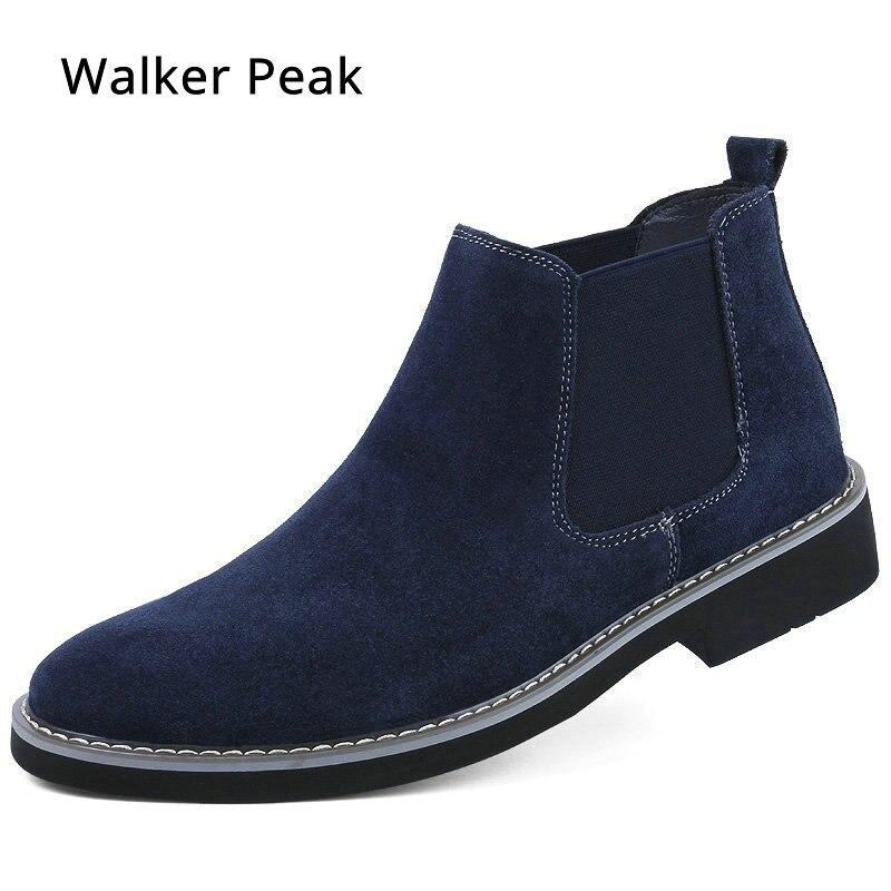 Botas Chelsea para hombre, ante superior de calzado clásico, botines Chukka de cuero auténtico, botas de vaquero de moda para hombre 2018