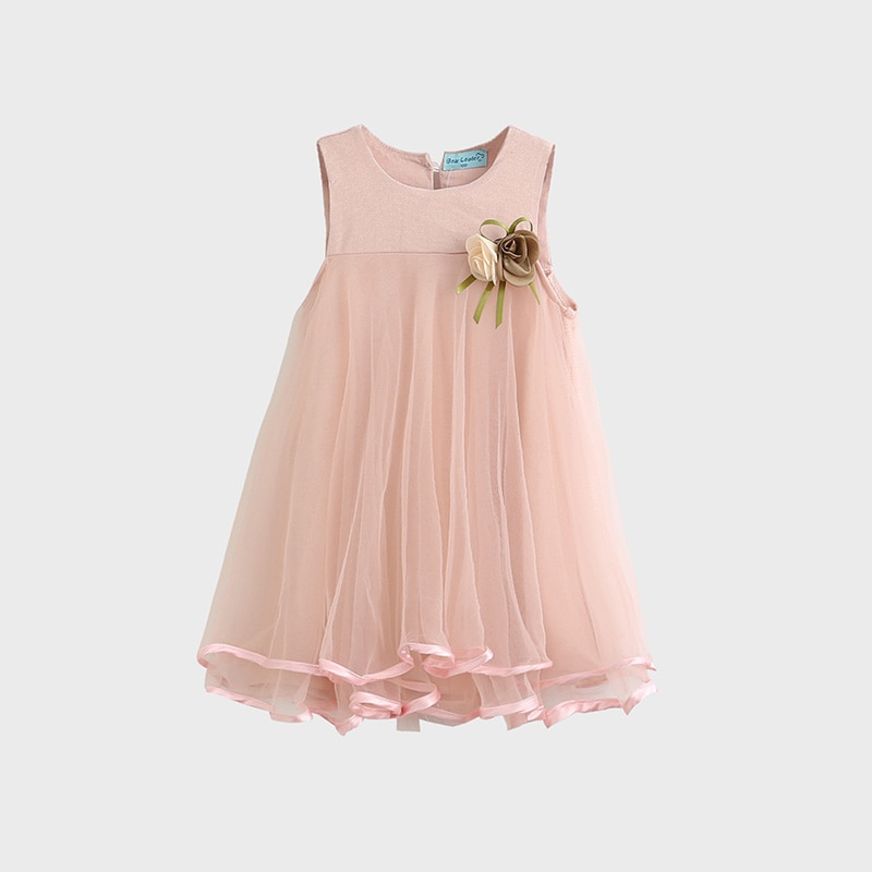 Vestido de verano para niñas, ropa sin mangas Floral de algodón para niñas pequeñas, vestido Vintage informal de tul para niños pequeños