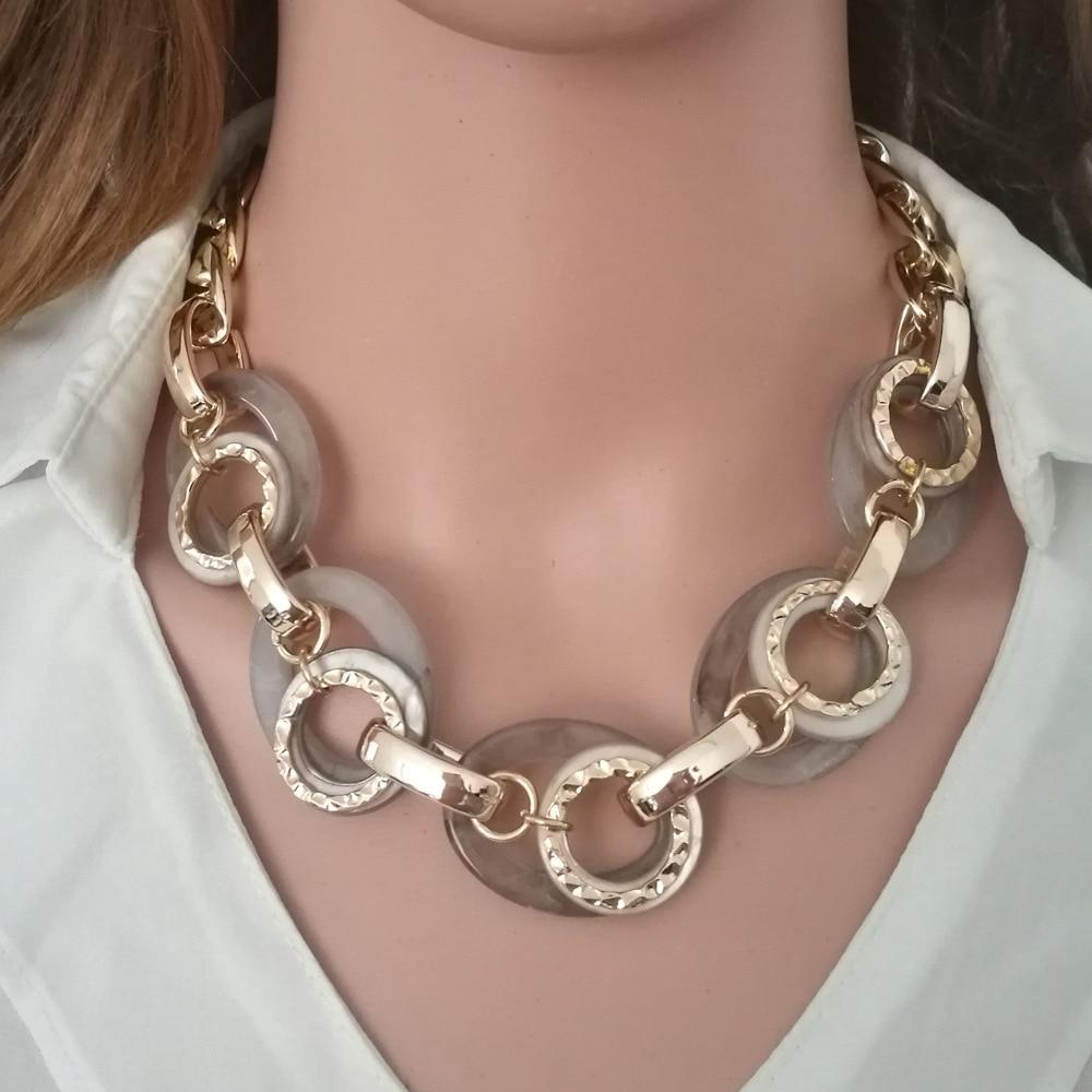 Collar de metal grueso MEILIYISHI con colgante acrílico de resina, collares de moda, joyería para mujeres, regalos de Club