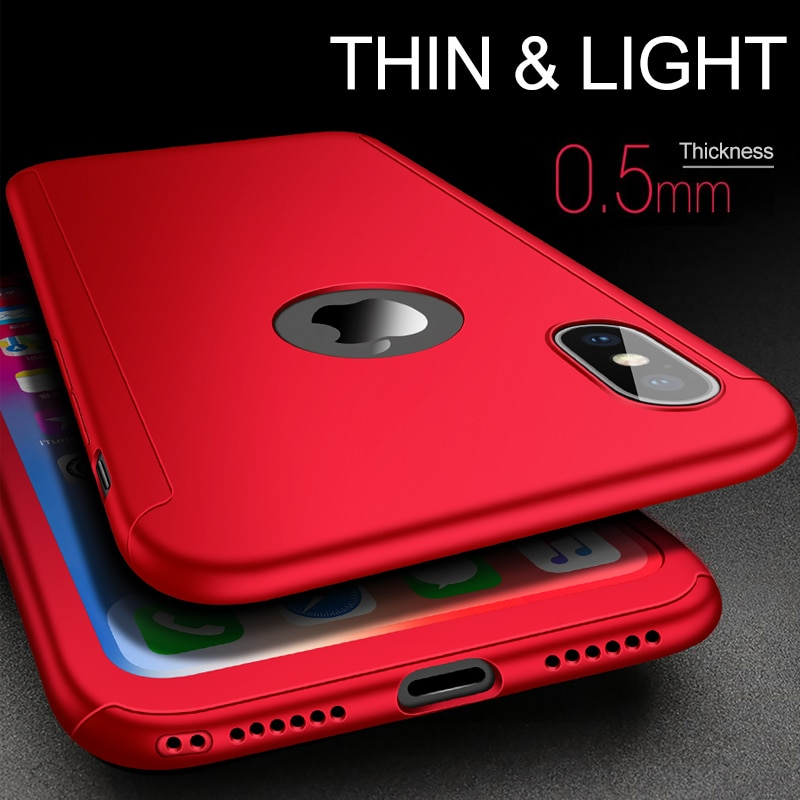 Étui de protection PC 360 degrés complet pour iPhone X 8 7 6 6 S Plus couverture arrière avec Film en verre trempé pour iPhone XR/XS/XS Max/X