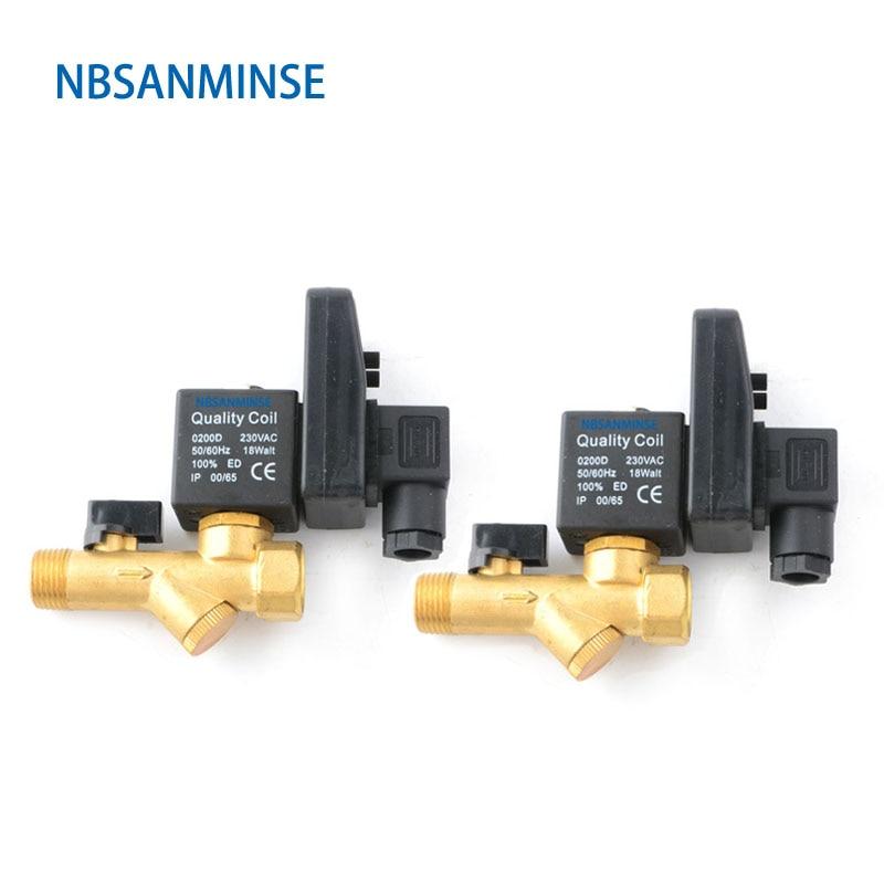 NBSANMINSE Electronic Drain Valve G1/2 1.6 Mpa SR-B-15   Brass Solenoid  Valve DC24V AC220V  Air Compressor Drainer