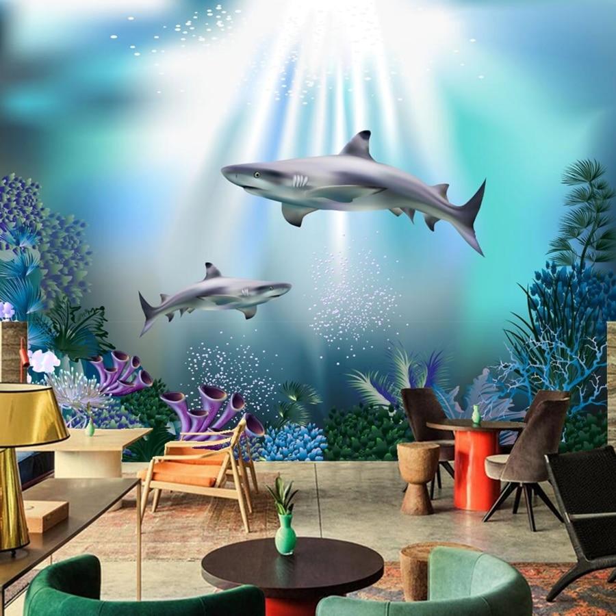 Papel pintado de animales tiburones mundo submarino papel de pared, sala de estar de hotel sofá TV Fondo habitación niños papel tapiz 3d