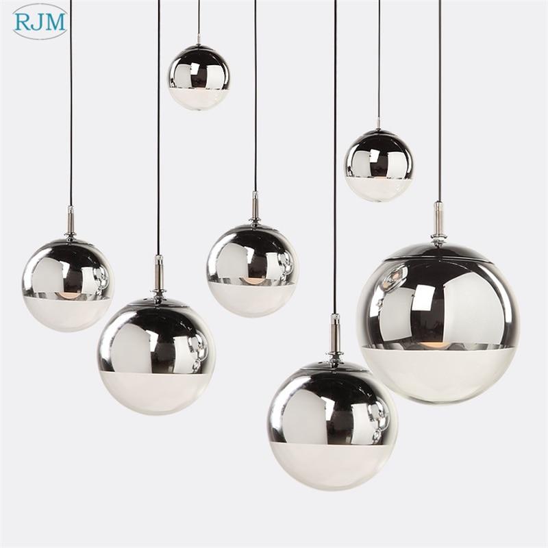 Modern Pendant Lights Silver Mirror Ball Hanglamp Globe Glass Led Lamp Kitchen Living Room Bedroom Home suspension luminaire