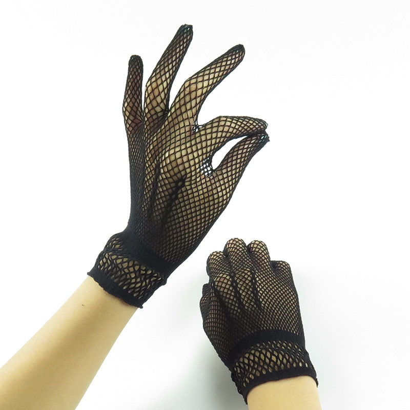 Women Lace Gloves Summer Driving Dance Mesh Fishnet Glove for Girls Black White Mittens Guantes