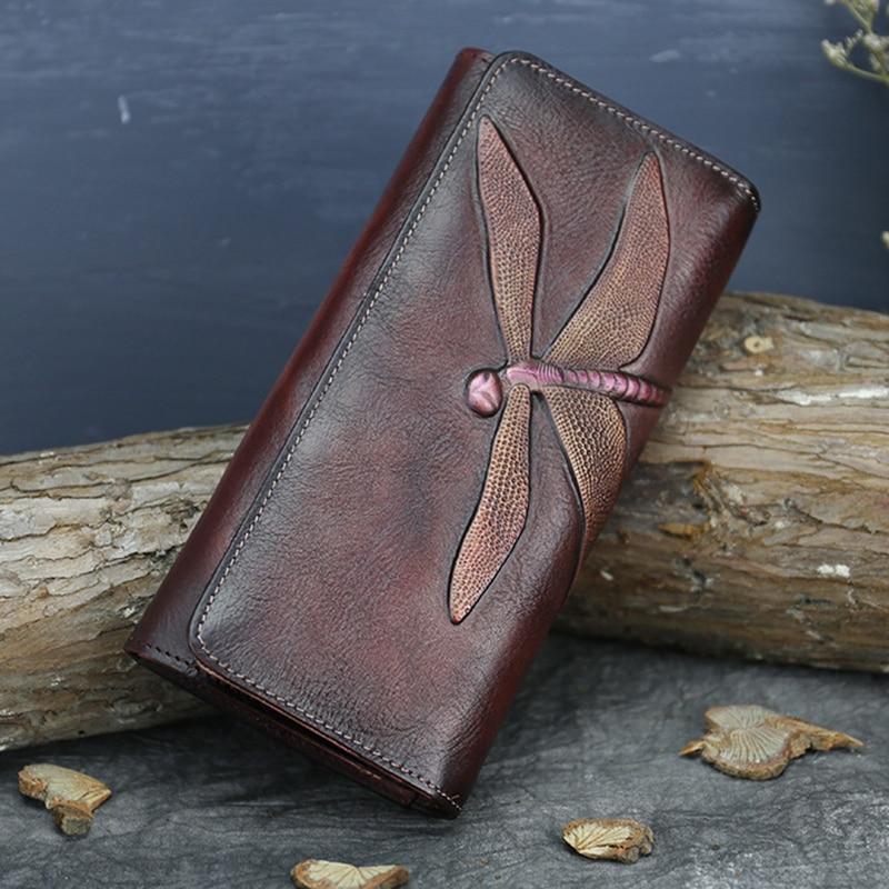Cartera de mano de cuero auténtico de bronceador con ID/tarjetero para tarjetas de crédito monedero Vintage para mujer Cuero de vaca real con tejido de monedas carteras largas