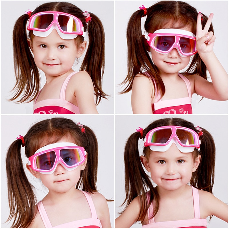 Swimming Goggles Comfortable Silicone Large Frame Adjustable Swim Glasses Children Anti-Fog UV Waterproof  Eyewear