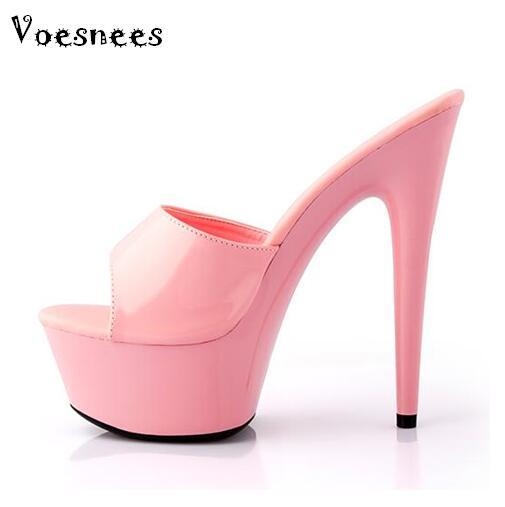 Zapatos mujer nuevos 2019 verano elegantes tacones altos 15cm fino cristal transparente zapatilla Zapatos Sandalias y zapatillas de fondo pesado