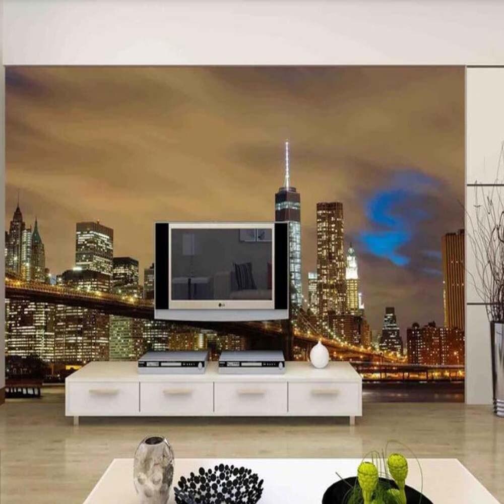 Cidade noite 3d foto papel de parede mural para sala estar sofá tv backplash cidade edifício rolos personalizar