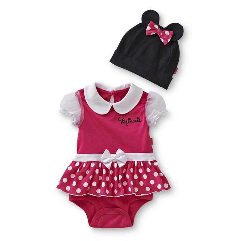 Hot Pink Infantil Girl Summer Cartoon Romper Dress + Cap 2 Piece Baby Suit Conjuntos Roupas Infantil Meninas Bebe Clothing Wear