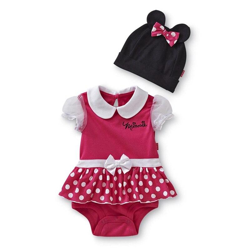 ¡Oferta! Pelele de dibujos animados rosa para niña de verano, vestido + gorro, traje de bebé de 2 piezas, ropa Infantil para niña