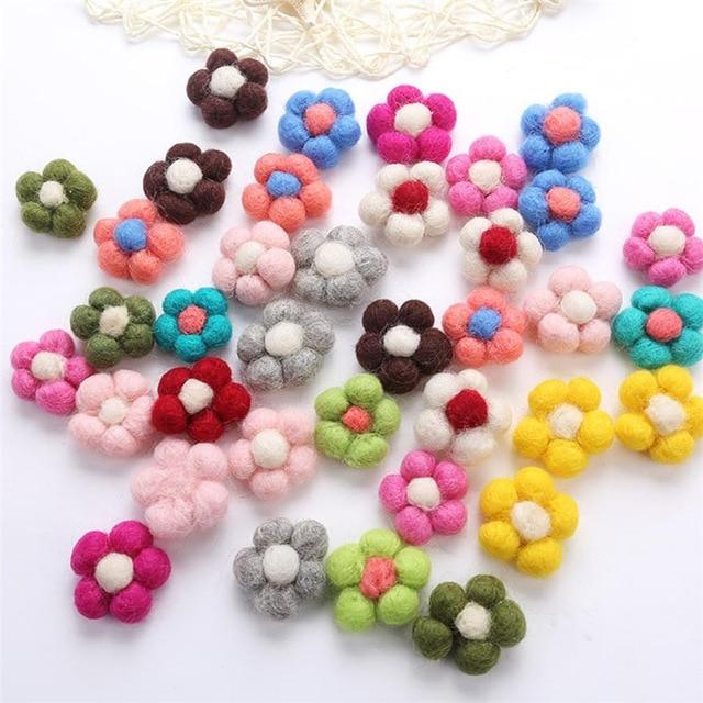 Flor de fieltro de aguja de lana hecha a mano Flor de lana para DIY joyería de moda accesorios de ropa de pelo multicolor 1 ud.