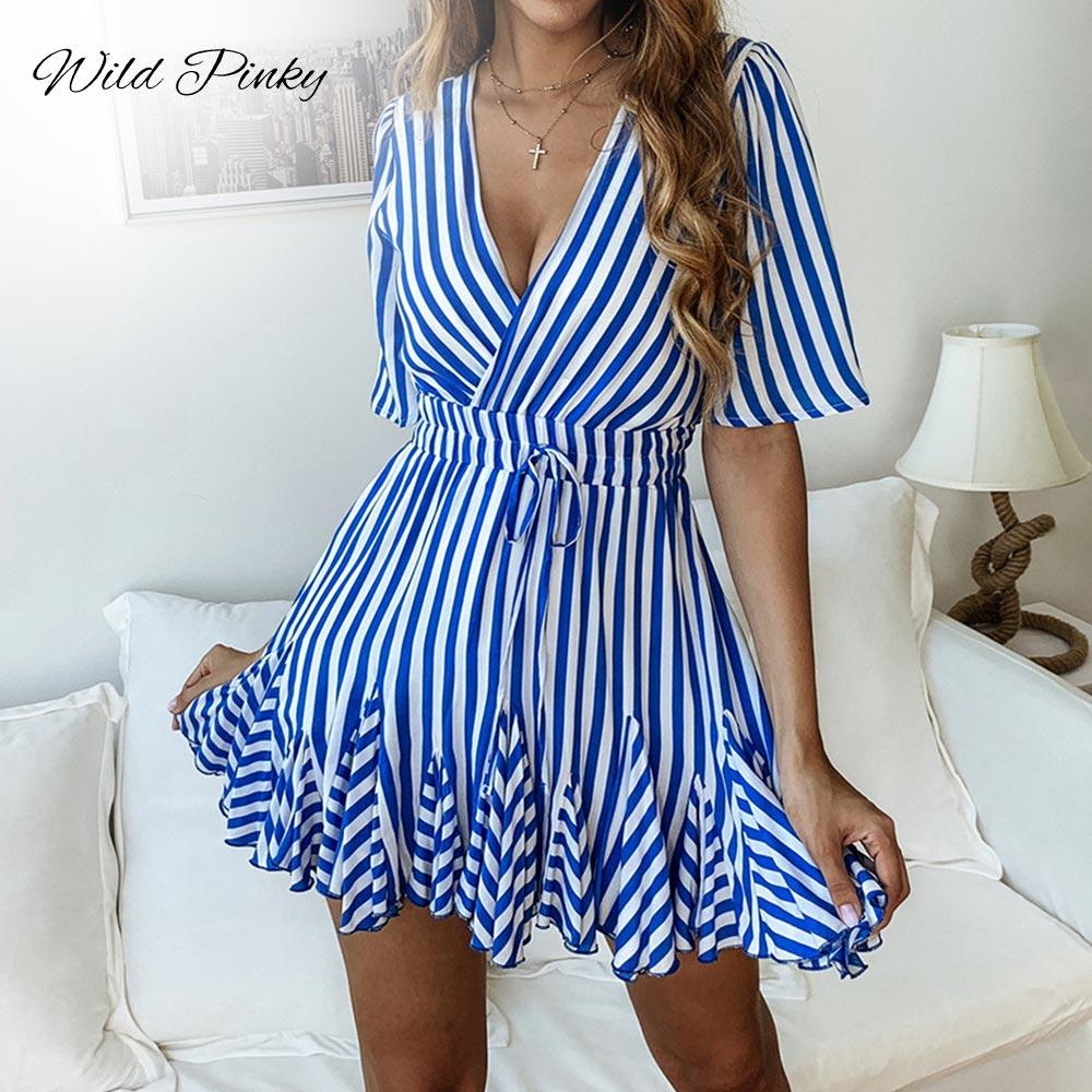 WildPinky Vintage Vestido de las mujeres con cuello en V y volante de corta de algodón de verano Plus tamaño Vestido Casual Sexy dama mujer Vestido de fiesta