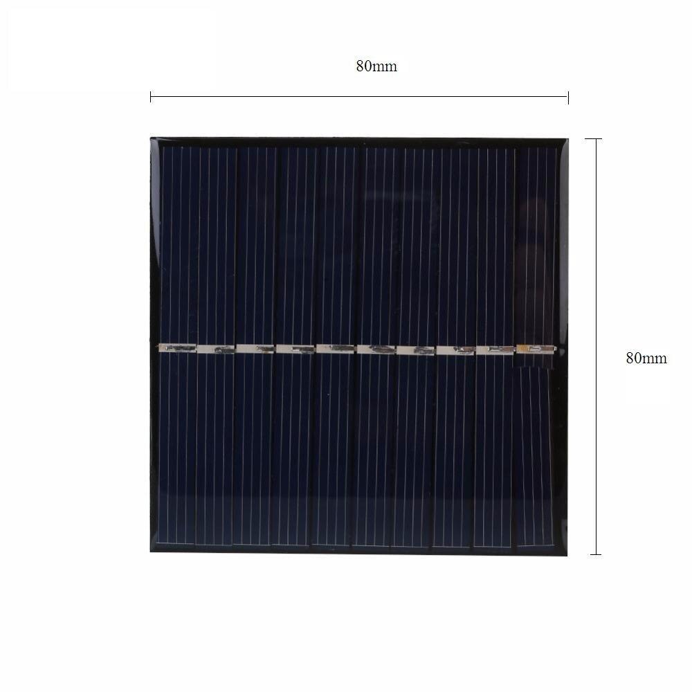 ALLMEJORES pequeño tamaño epoxi 5V panel solar 0,9 W 80mm x 80mm Módulo de células solares policristalinas diy cargador de energía solar luz LED