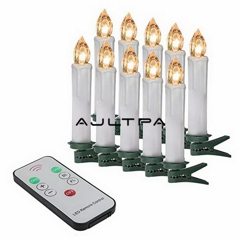 10 pçs/set Festa de Aniversário Vela Do Casamento Do Natal Branco Quente Levou Lâmpadas de Luzes Sem Chama + Controle Remoto Sem Fio