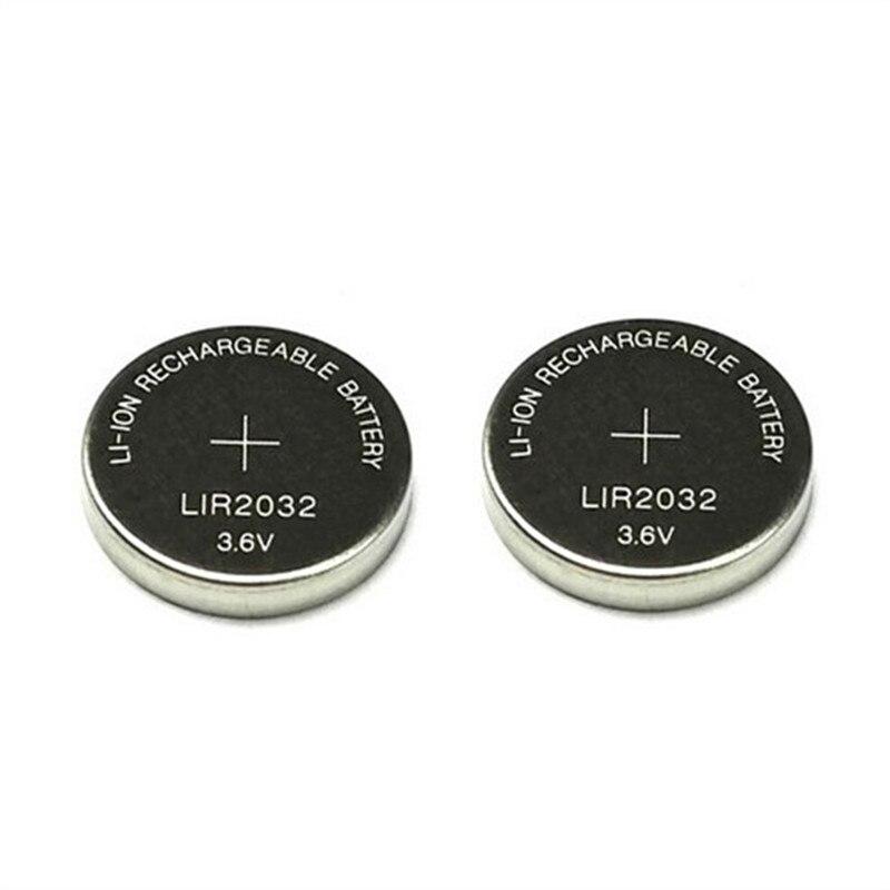 LIR2032 lir 3,6, 2 uds., batería recargable de ión-litio de 40mah, botón de Li-ion, pila de moneda, reemplazo para CR2032 CR 2032