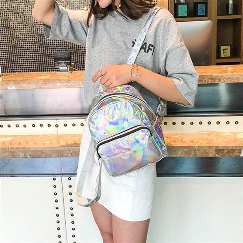 2020 Серебряный Розовый Модный Лазерный рюкзак для женщин и девочек голографический рюкзак маленького размера для девочек-подростков