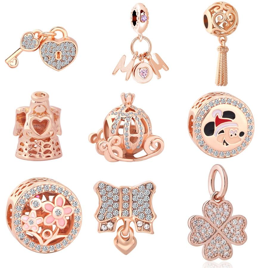 New Original pink gold Pumpkin car angle Mom diy pendant bead fit European original Pandora Bracelet for Women Jewelry Berloque