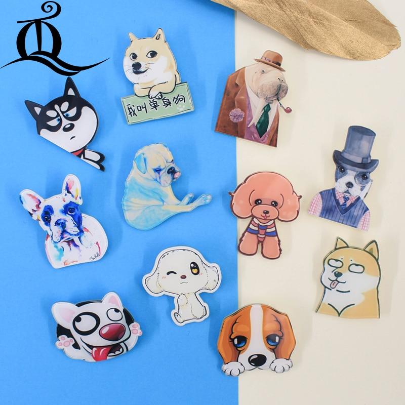 HOT mix 1PC Camisa Bonito Dos Desenhos Animados lovely dog animal Decoração Lindo Broche Broche Crachá de Acrílico broche de Pinos Bag Packbag, z38