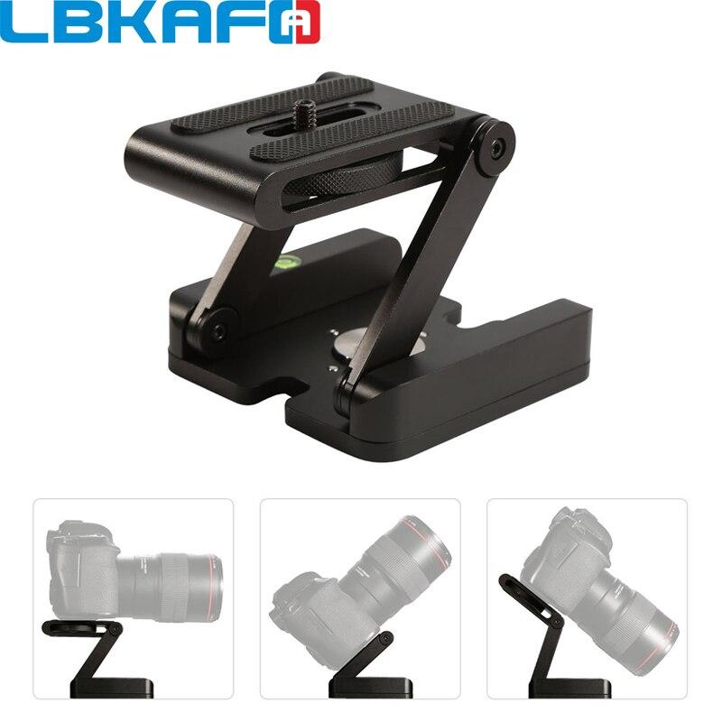 LBKAFA Cámara Flex trípode Z Pan Tilt aluminio plegable trípode soporte cabeza solución estudio fotográfico para Nikon Canon Gopro YI