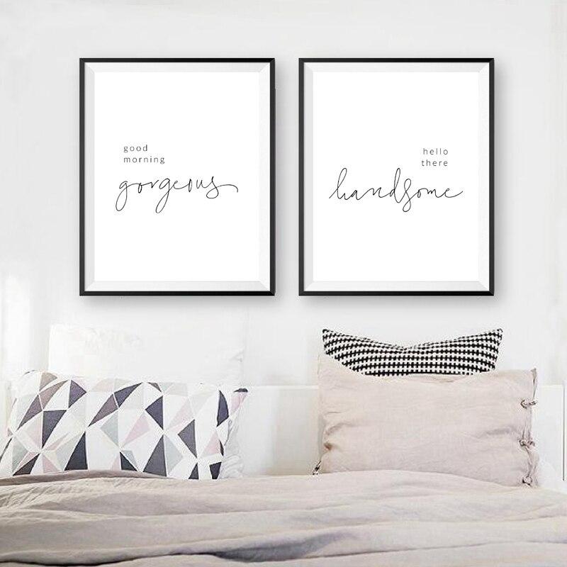 Guten Morgen Wunderschöne Hallo es Hübscher Schlafzimmer Quote Druck Nordic Poster Moderne Wand Kunst Bild Leinwand Malerei Home Decor