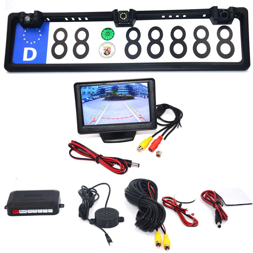 4,3 автомобильный монитор Европейская Рамка номерного знака ЕС Автомобильная камера заднего вида Водонепроницаемая камера заднего вида 4 св...