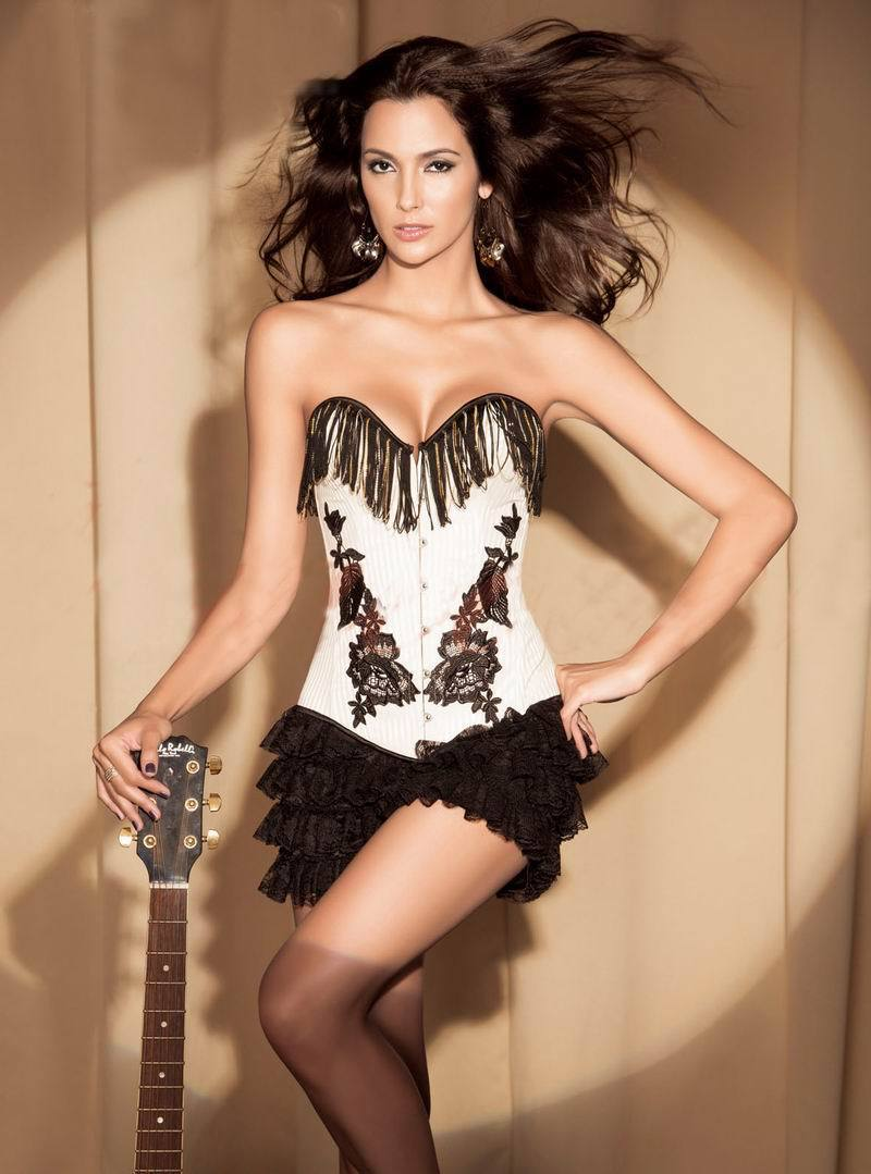 Moda barata nuevo estilo Beige pinstripe tassel Corset 3S3115 Sexy corset tapas para desgastarse