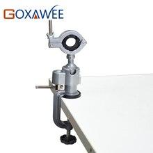 GOXAWEE Mini herramientas de taladro giratorio, soporte de mesa, Mini tornillo de Banco de aleación de aluminio, abrazadera de mesa para herramientas de taladro dremel