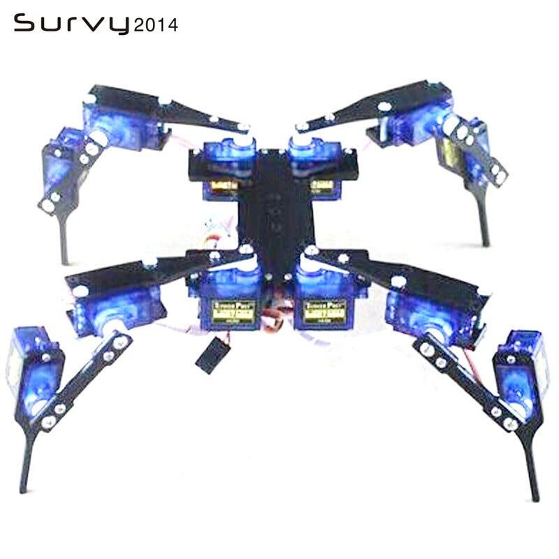 1 conjunto diy robô aranha 12 dof 4 pés/perna hexápod 4 rc mini quadro robótico