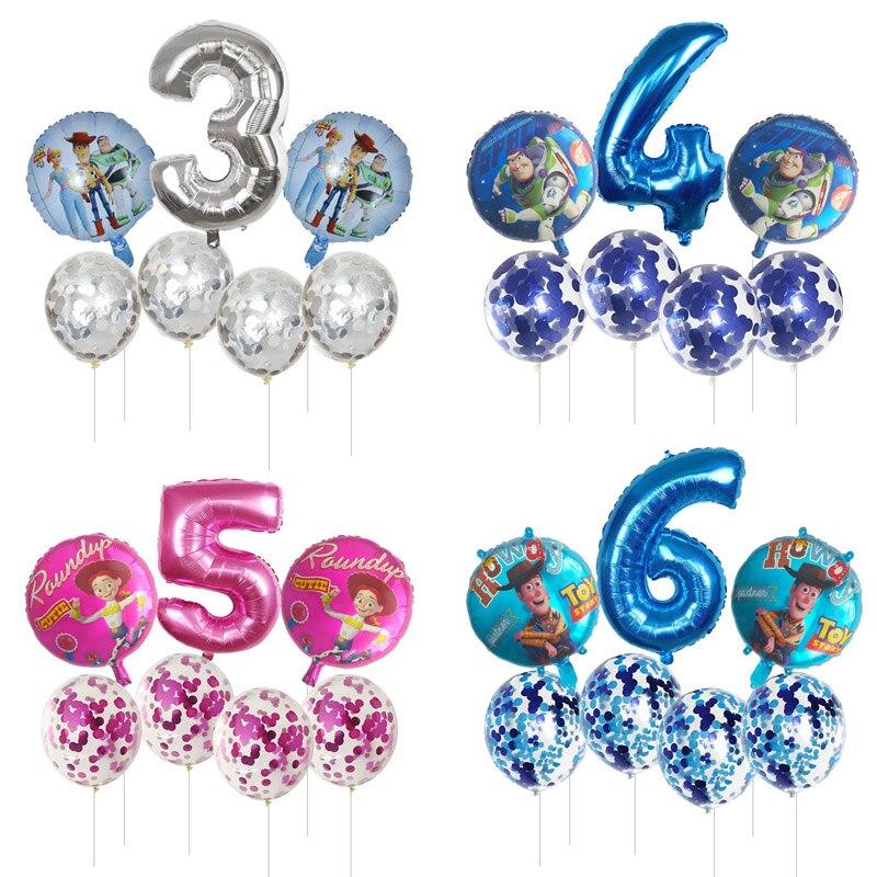 7 Uds juguete globos de Buzz Lightyear número azul de plata rosa de papel de aluminio Ballon historia feliz globo para fiesta de cumpleaños juguetes de historieta para niños suministros