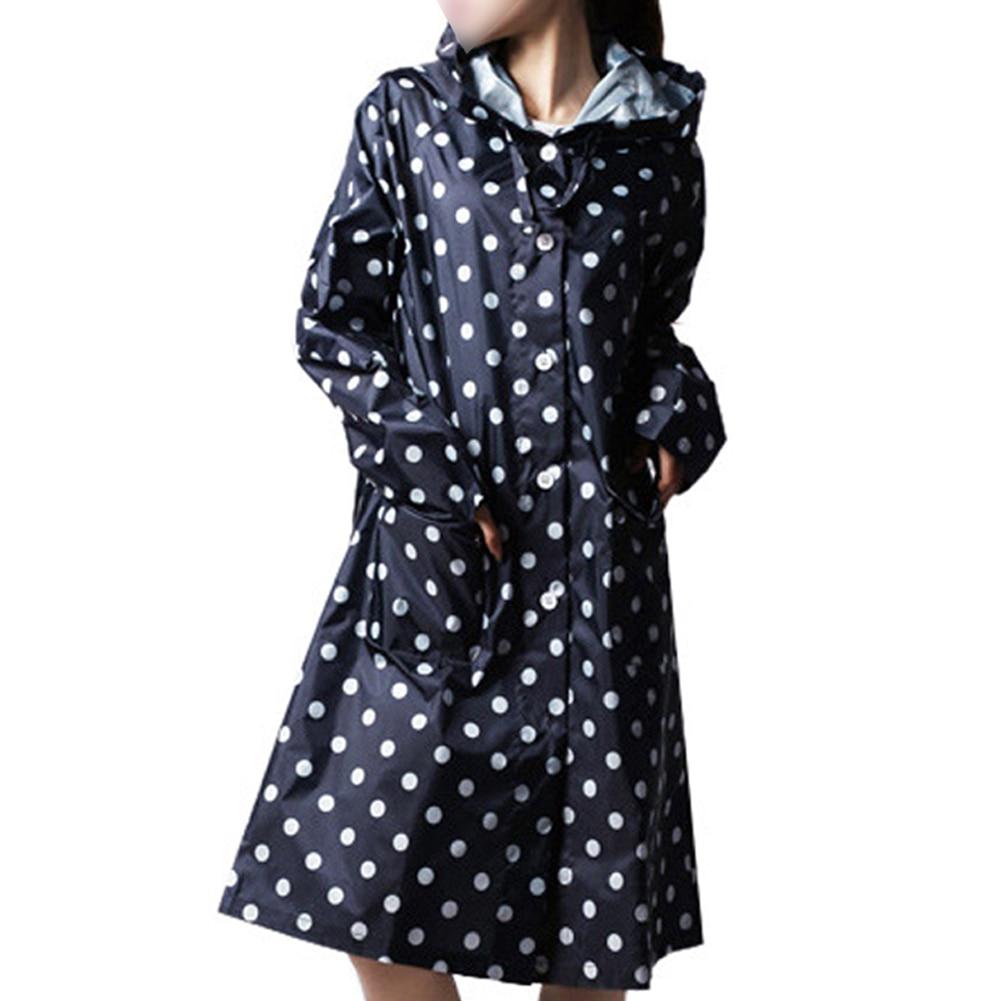 Outdoor Women Waterproof Riding Clothes Raincoat Poncho Pocket Polka Dot Hooded Knee Long Rainwear Nylon Navy Blue Best Selling