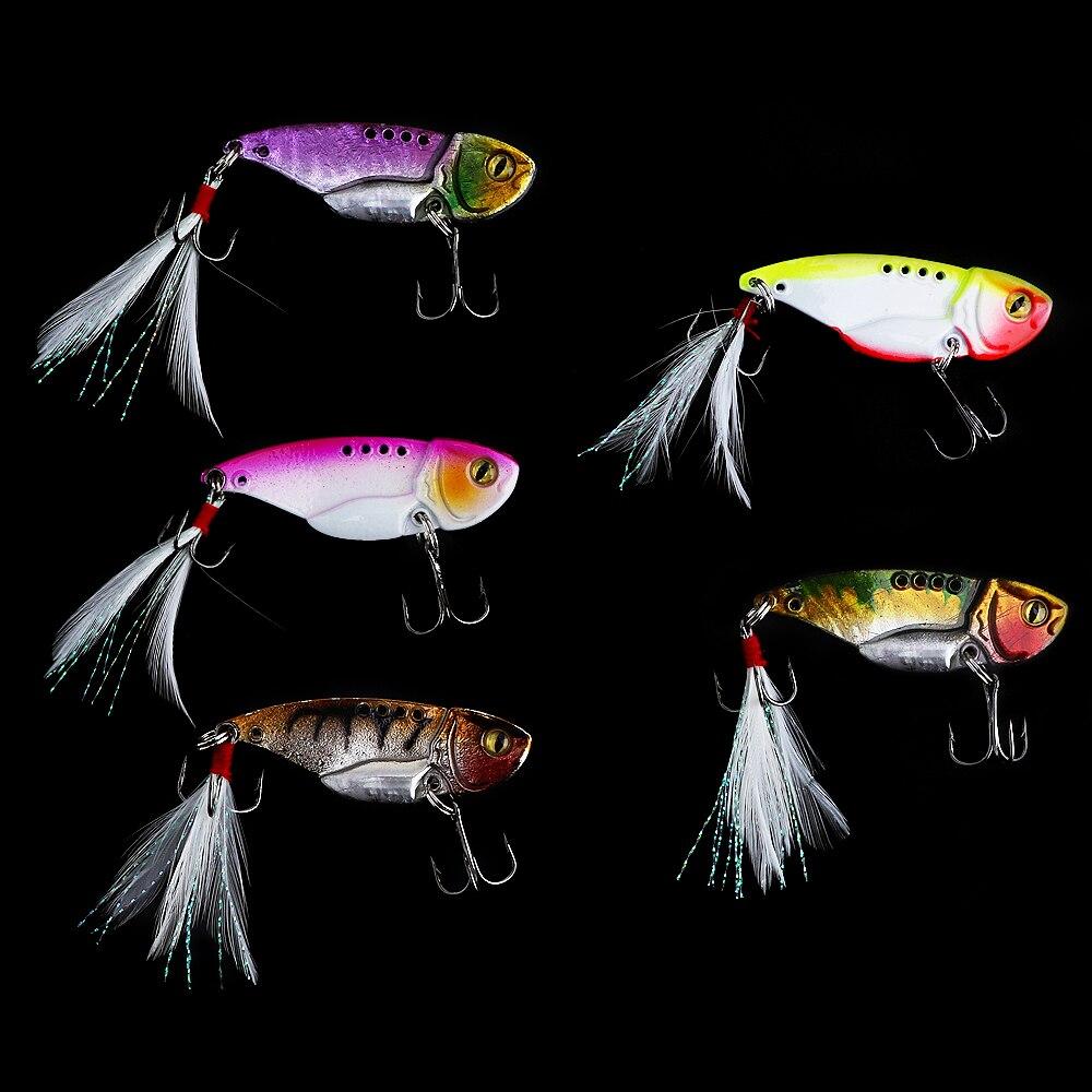5 unids/lote HENGJIA 5,5 cm 12g señuelo de pesca cuchara VIB Blade cebos de Metal con anzuelos triples para carpa SeaBream Bass Fish