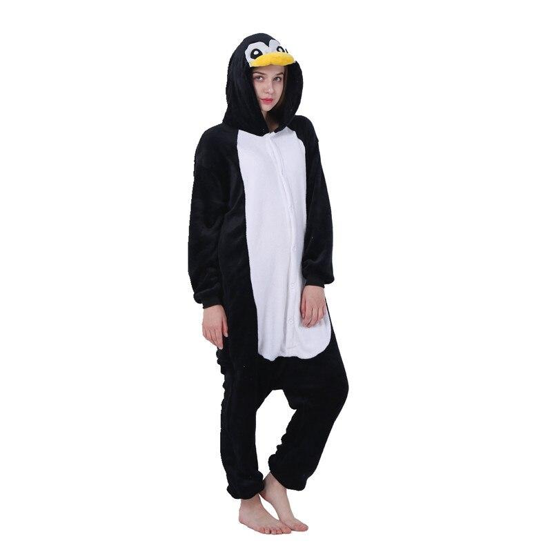 Kigurumi pingüino pijama negro Animal adulto Onesies para Mujeres Hombres pareja invierno Pijamas Kegurumi ropa de dormir franela Pijamas Pijama pijama