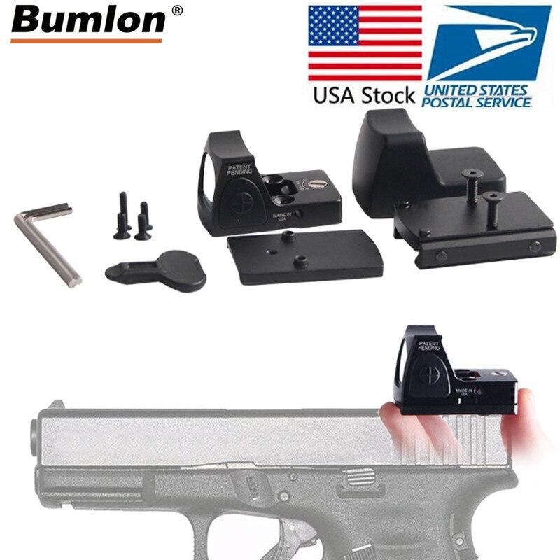 Stock Mini RMR Vista de punto rojo colimador Glock reflejo vista alcance 20mm Weaver carril Airsoft Rifle de caza vista óptica