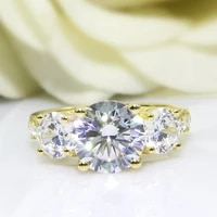 solitaire 2 carat moissanite ring test positive brilliant cut lab grown diamond solid 14k yellow gold engagement rings for women