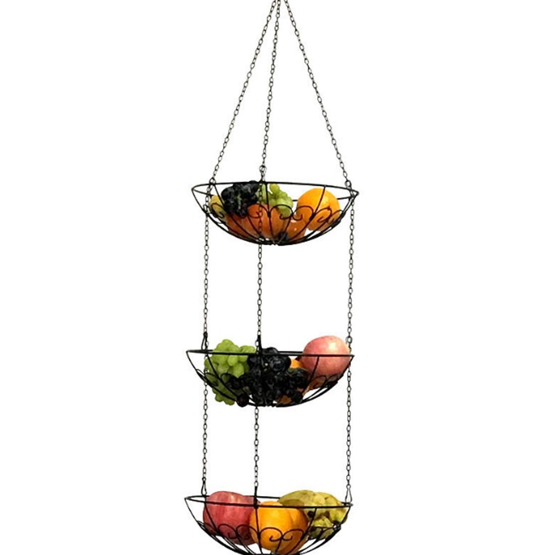 HIPSTEEN estilo europeo estante de cesta de almacenamiento s 3 niveles colgando cocina verduras fruta estante de cesta de almacenamiento con cadena de hierro gran oferta