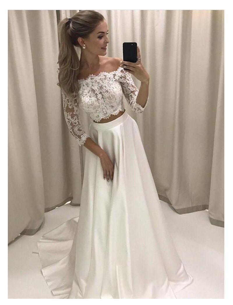 Купить с кэшбэком LORIE White Boho Wedding Dress Lace 3/4 Sleeves Chiffon Simple Princess Bride Dress 2 Sets Pieces Custom Made Wedding Gown 2019