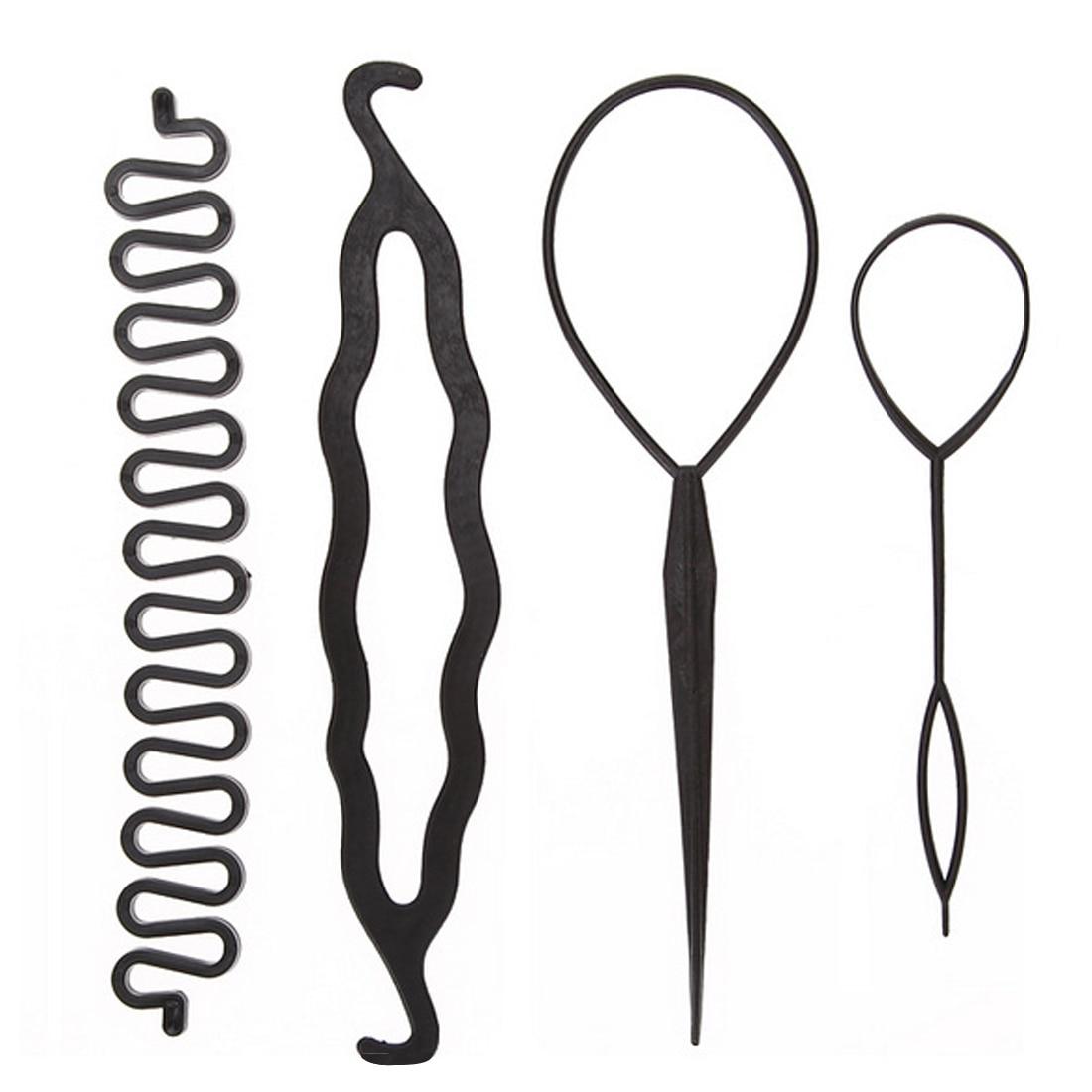 4pcs/set Magic Hair Braiding Twist Curler Styling Set Hairpin Holding Hair Braiders Pull Needle Ponytail DIY Hairdressing Tool