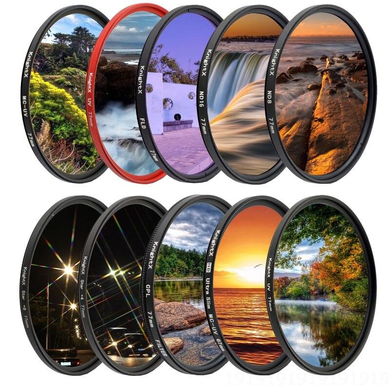 Filtro uv da lente da câmera da estrela do nd de knightx para canon sony nikon 49mm 52mm 55mm 58mm 62mm 67mm 72mm 77mm dslr 2000d d600 luz
