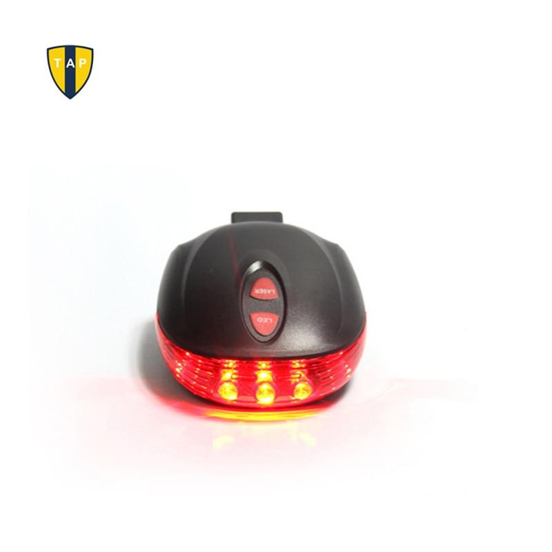 5LED y 2 láser de seguridad en ciclismo bicicleta trasera impermeable accesorios de lámpara de advertencia luz trasera láser intermitente Bycicle