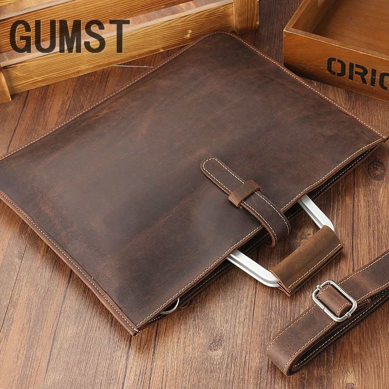 GUMST 2019-حقيبة جلدية كريزي هورس للرجال ، حقيبة عمل كلاسيكية بلون القهوة ، جلد طبيعي