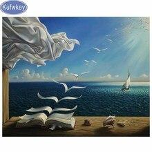 kufwkey Diamond Embroidery fantasy art nature painting sunlight books birds flying surreal Diamond Painting full square round 5d