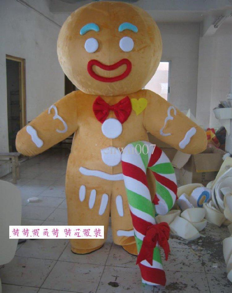 Disfraces de hombre de jengibre de Mascot, ropa de dibujos animados, fiesta de cumpleaños vestido elegante para, Cosplay de Navidad para evento de fiesta de Halloween
