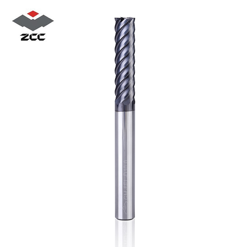 1PC ZCC.CT GM-6E GM-6EL  6 flute flattened end mills  TiAIN coated Carbide spiral end mills for high precision finishing milling enlarge