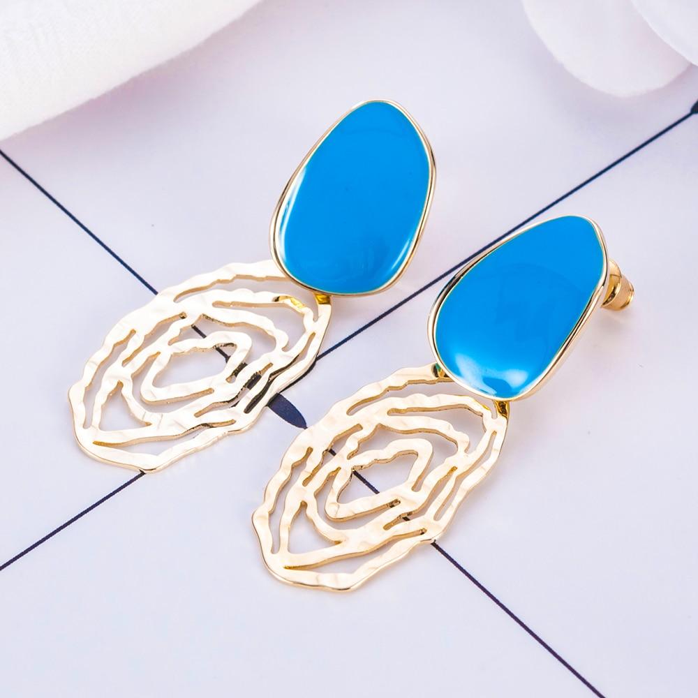 1Pcs Blue Ellipse Irregular Statement Earrings for Women 2019Dangle Earrings Jewelry for Girl Summer Party Style Aretes De Mujer