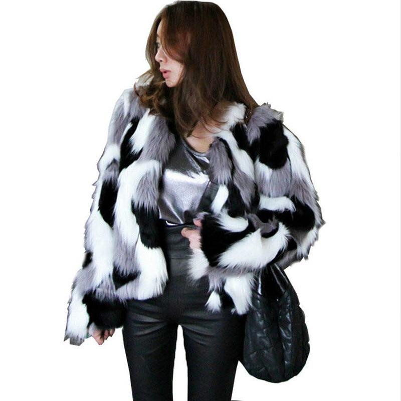 Faux Fur coat Women's 2018 Autumn and Winter New Korean version of the Whole Leather Imitation Fox Fur Short Coat Size S-6XL