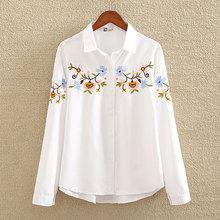 Blusa bordada Floral nvyou gou 2019, blusa blanca ajustada para mujer, blusas de manga larga, camisas de oficina para mujer de talla grande